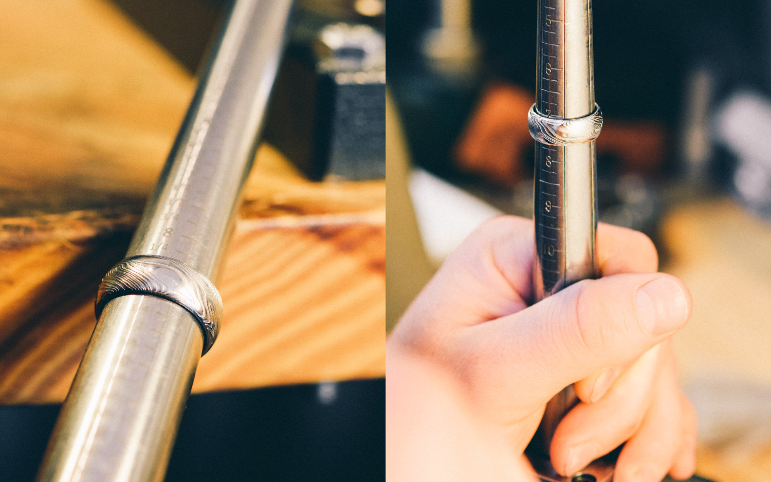 Every Steven Jacob Damascus Ring is meticulously sized on a precision ring mandrel and if necessary adjusted with a ring stretcher before being shipped to the customer.