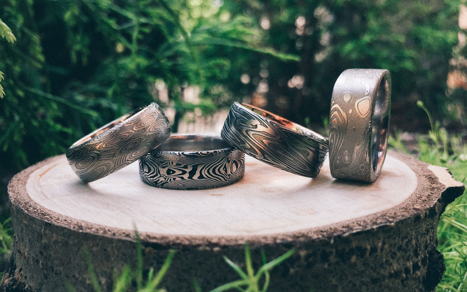 Damascus Steel Rings can have very unique and meaningful patterns.