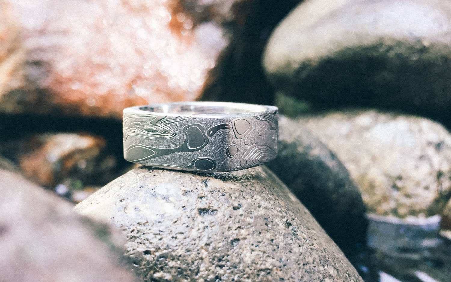 Water patterned Damascus Steel Ring –  TIDEPOOLS