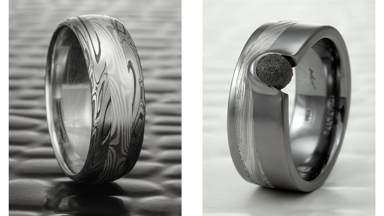 Two Custom Mokume and Damascus Rings by Steven Jacob