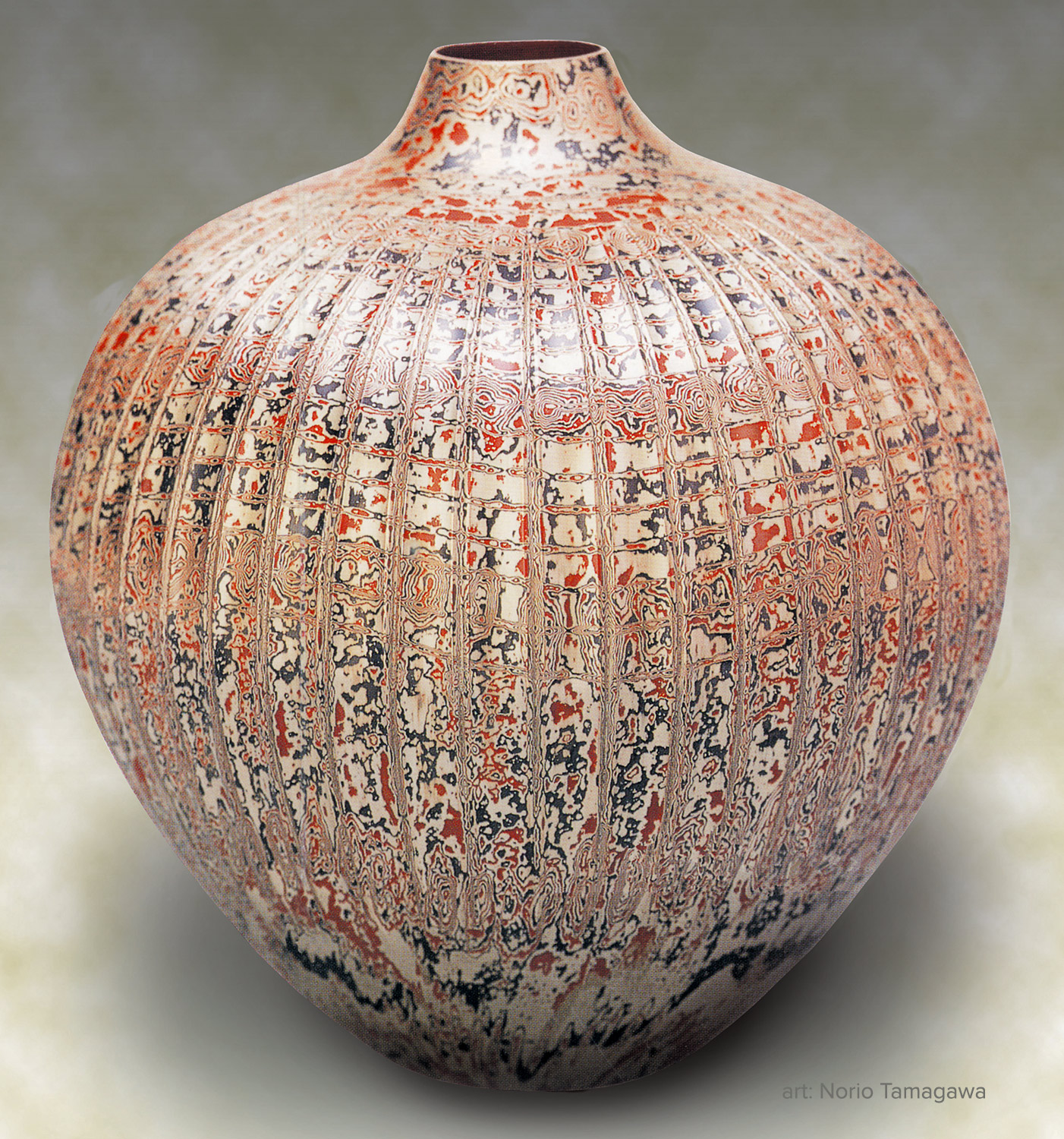 Raised Vessel by Norio Tamagawa. Copper, silver and shakudo.