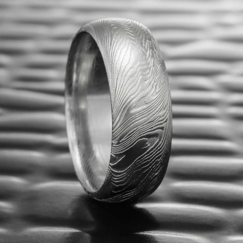 04a3f74d7f882 Men's Damascus Steel Ring Domed Men's Band | FINE WOOD — Steven Jacob