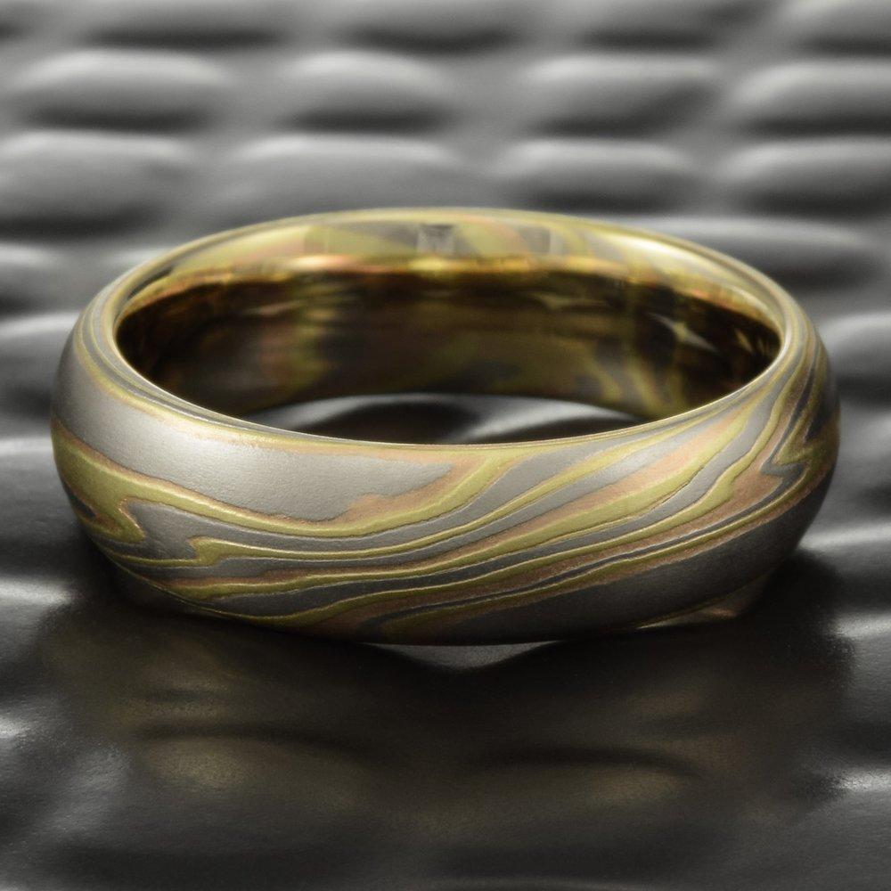 Mokume Men S Wedding Band 18k Tri Colored Ring Terra Steven Jacob