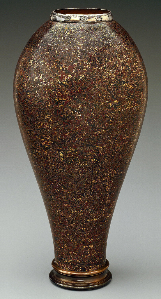 Tiffany Mokume Vase in Gold, Silver, Copper and what looks like Shakudo. From the collection of the Cooper Hewitt Museum.