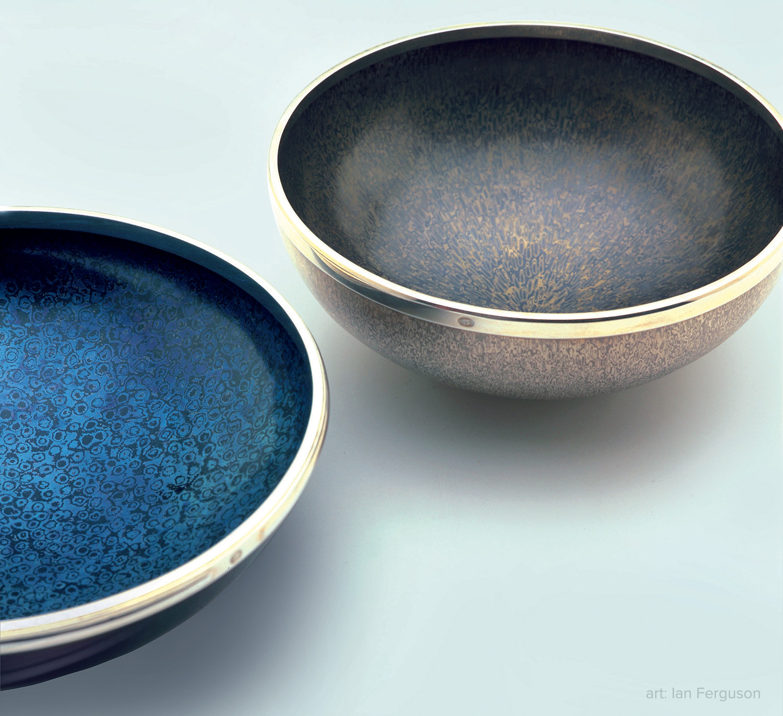 Left: Bowl by Ian Ferguson. Copper, titanium, and sterling silver. Right: Bowl by Ian Ferguson. Fine silver, nickel, and sterling silver. Photo: Terence Bogue.