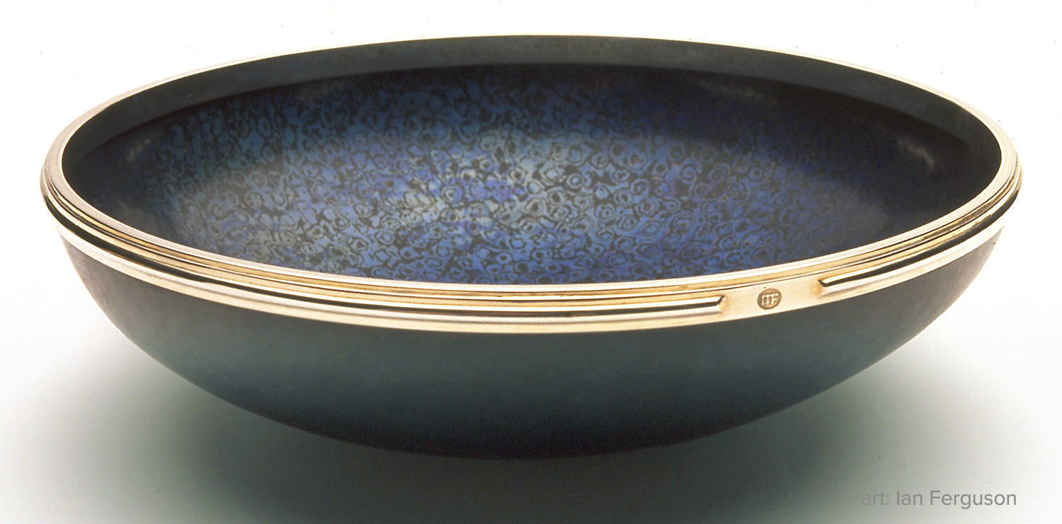 Bowl by Ian Ferguson. Copper, titanium, and sterling silver. Photo: Terence Bogue.