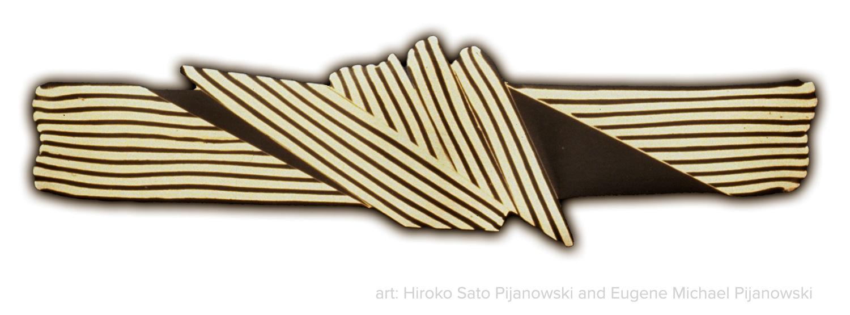 """Hair Ornament No. 1"" by Hiroko Sato Pijanowski and Eugene Pijanowski. Shakudo and fine silver."