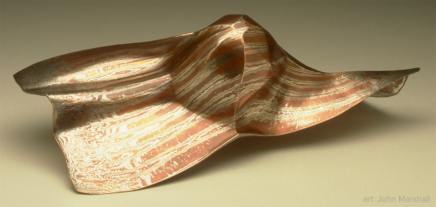 """Torque"" by John Marshall. - Sterling silver and copper. Photo: Jerry Davis."