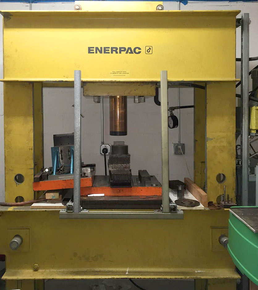 This 200-ton Enerpac press has its own dedicated room. Essential shielding plexiglass has been removed for the photo.