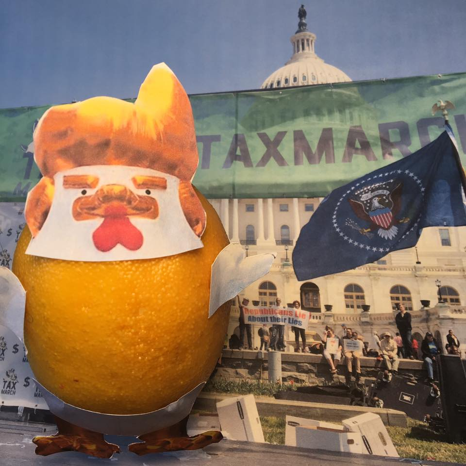 "4.16.17     Lemon-Chicken Verbatim with Capers...  ""I did what was an almost an impossible thing to do for a Republican-easily won the Electoral College! Now Tax Returns are brought up again? Someone should look into who paid for the small organized rallies yesterday. The election is over!""    #TaxMarch"