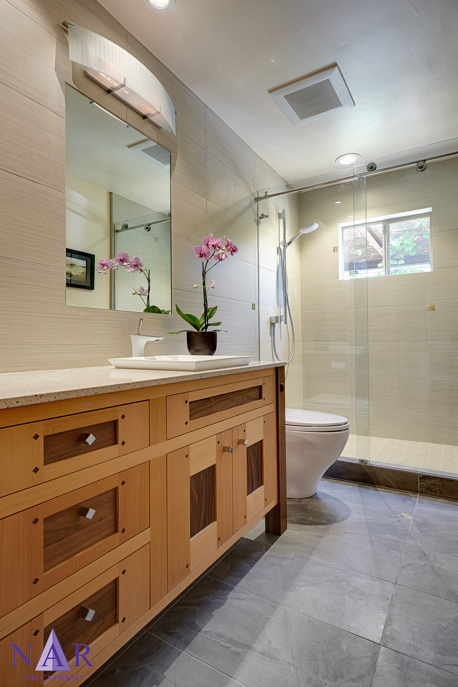 Carmichael Zen Bath. Nar Fine Carpentry. Sacramento. El Dorado Hills