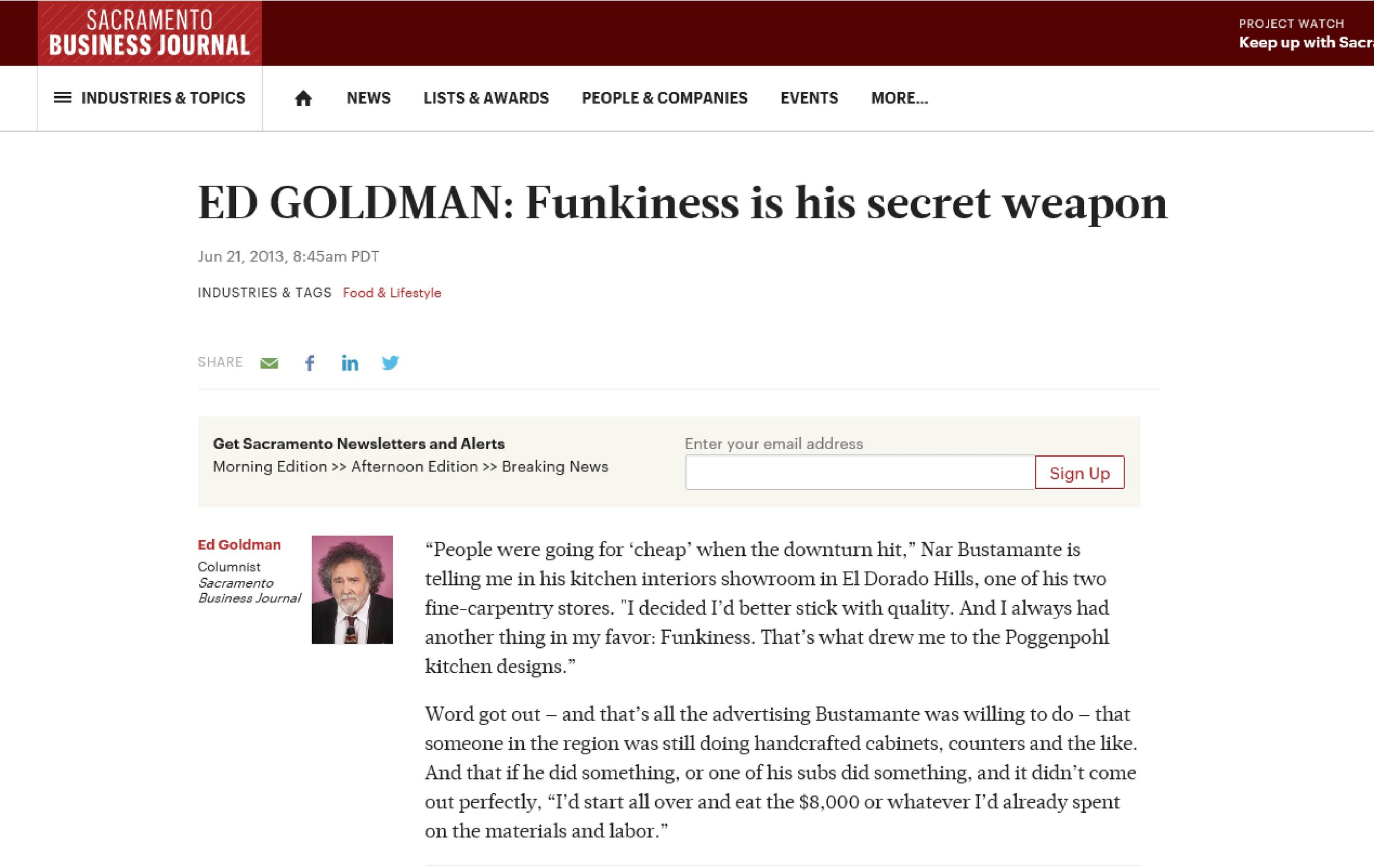 "Sacramento Business Journal Article: ""Ed Goldman- Funkiness is his Secret Weapon"", 6/2013"