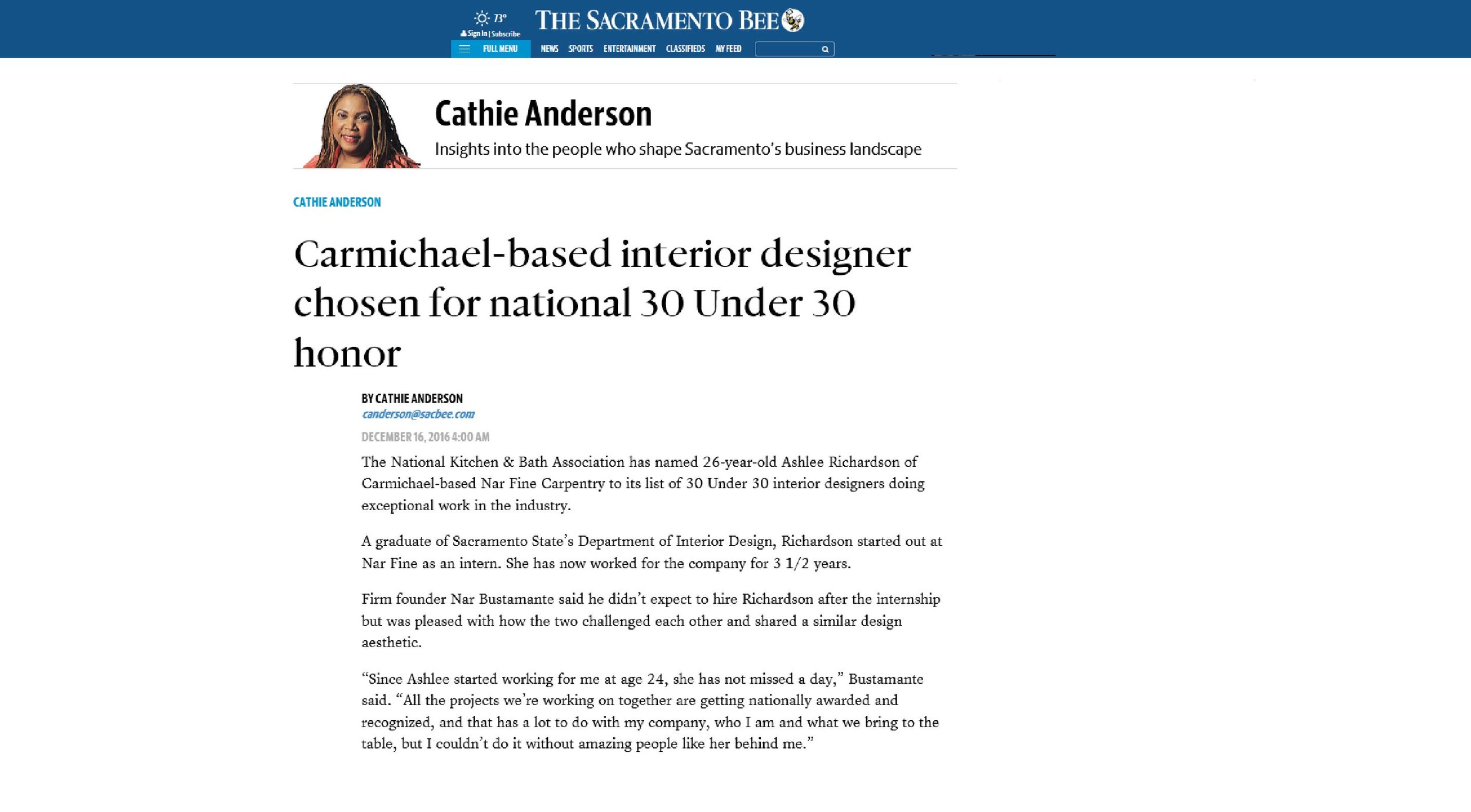 "The Sacramento Bee. Article featuring Ashlee Richardson, ""Carmichael-based interior designer chosen for national 30 Under 30 honor"" Dec. 2016"