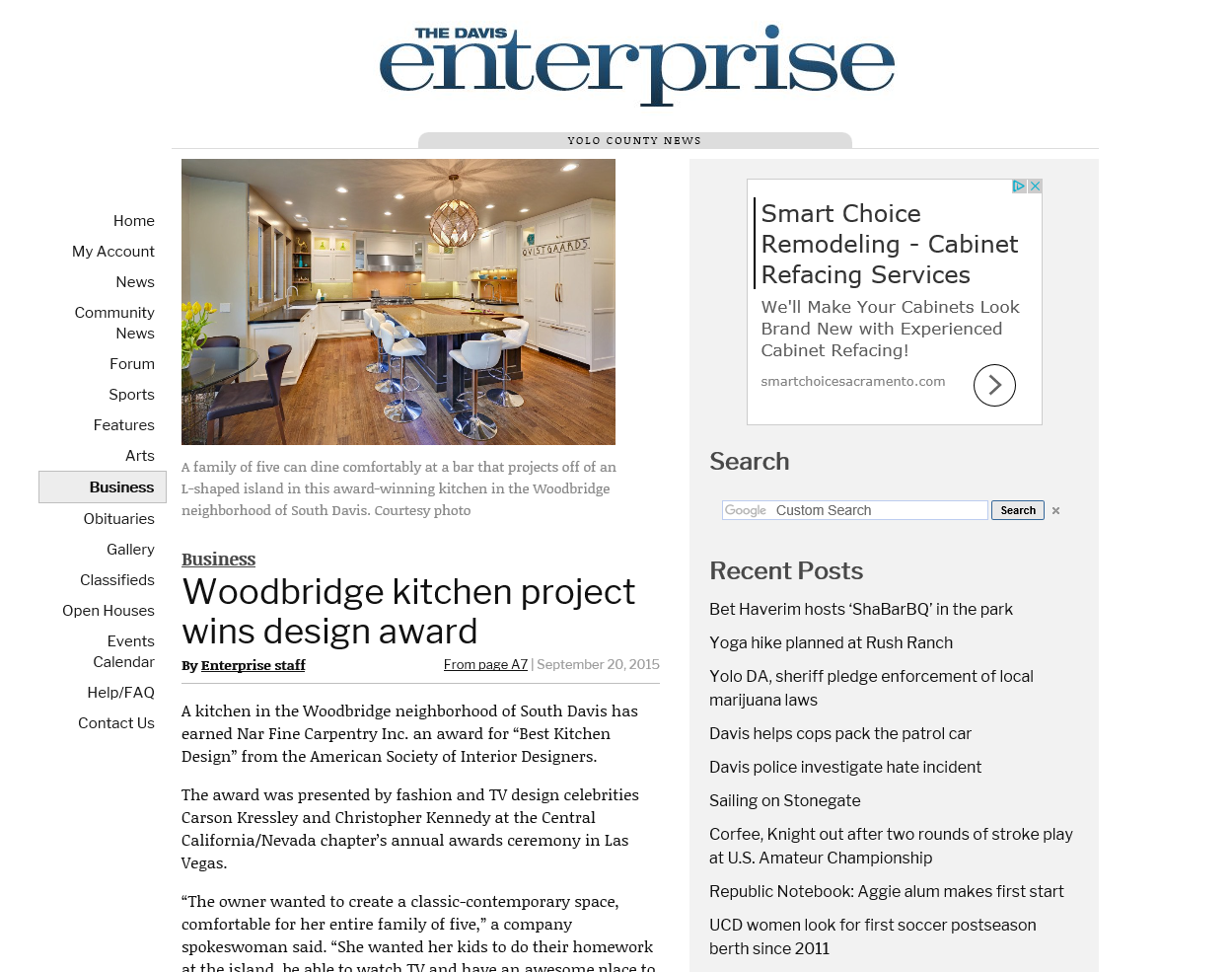 "Davis Enterprise Article: ""Woodbridge kitchen project wins design award"" 9/2015"