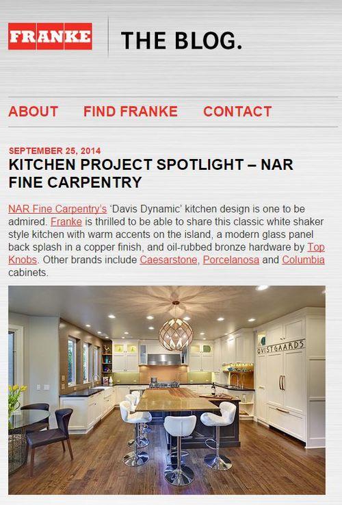 "Franke Blog ""Kitchen Project Spotlight - Nar Fine Carpentry"" 9/2014"