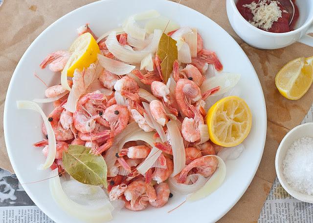 Maine shrimp with homemade cocktail sauce