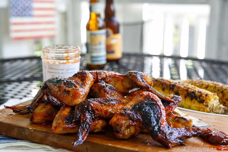 BBQ wings, red pepper jelly