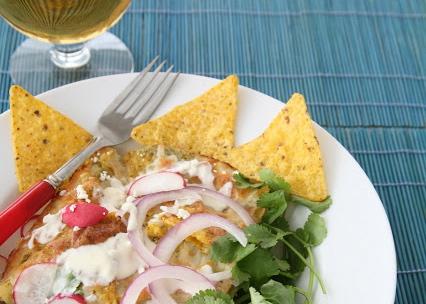 Chicken chilaquiles, green salsa