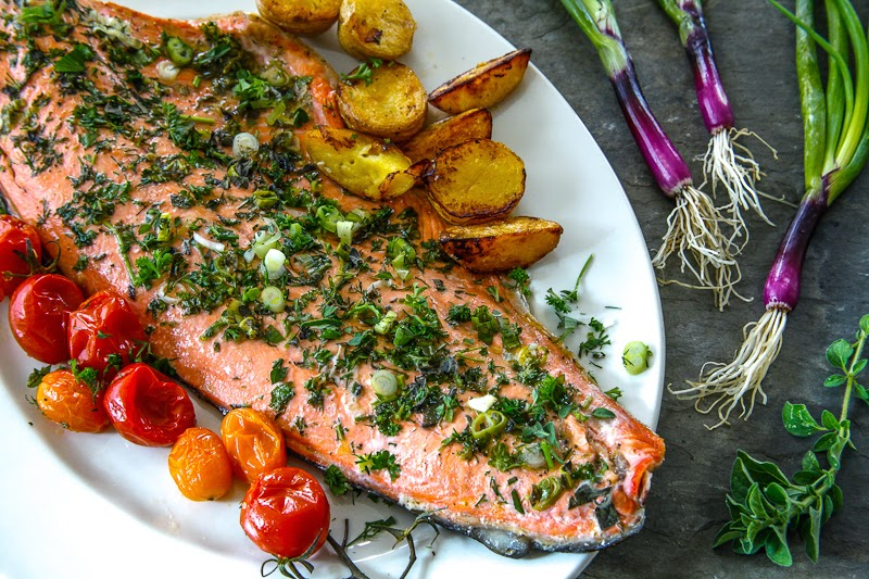 Salmon with summer herbs