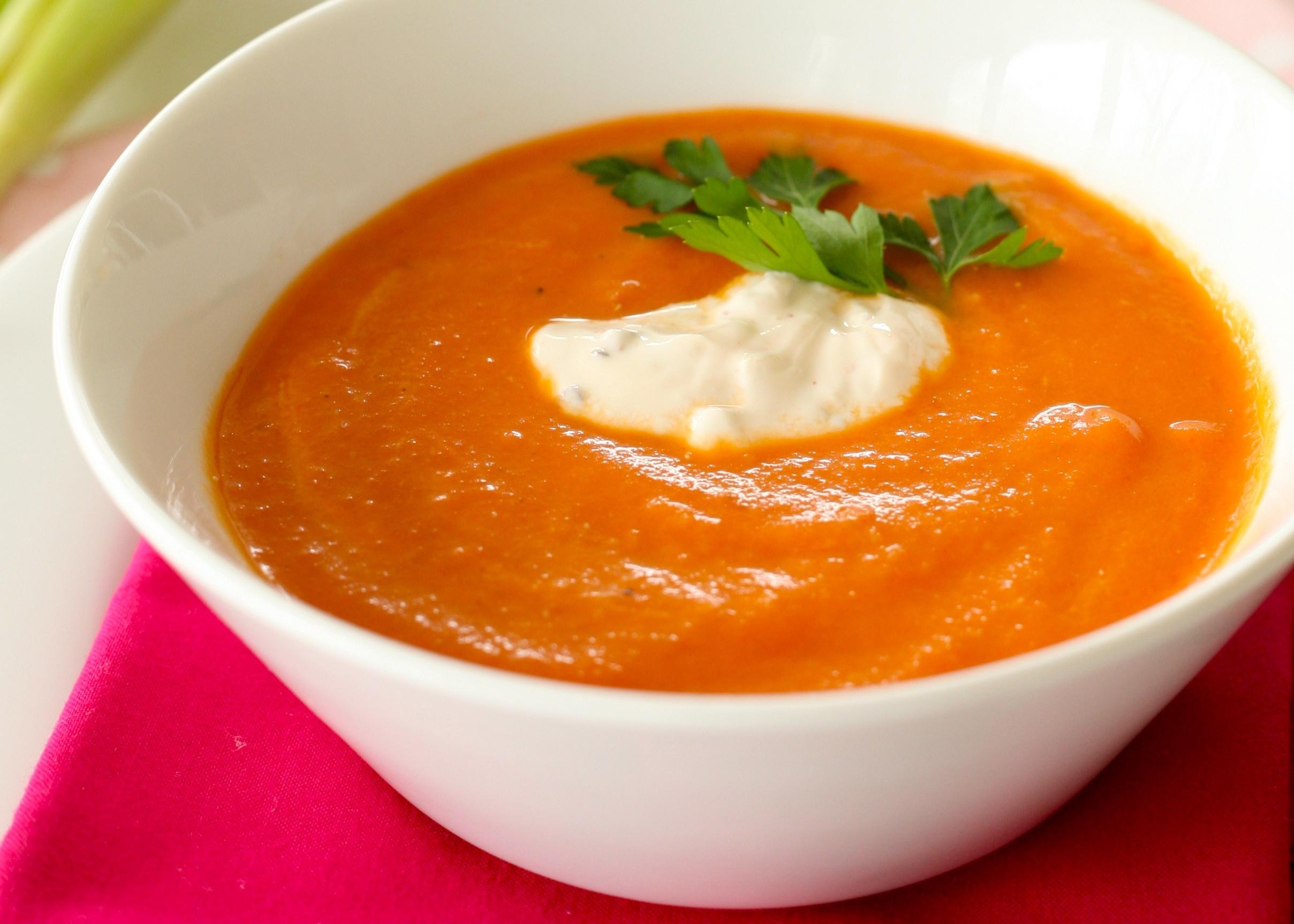 Winter tomato soup/ancho cream