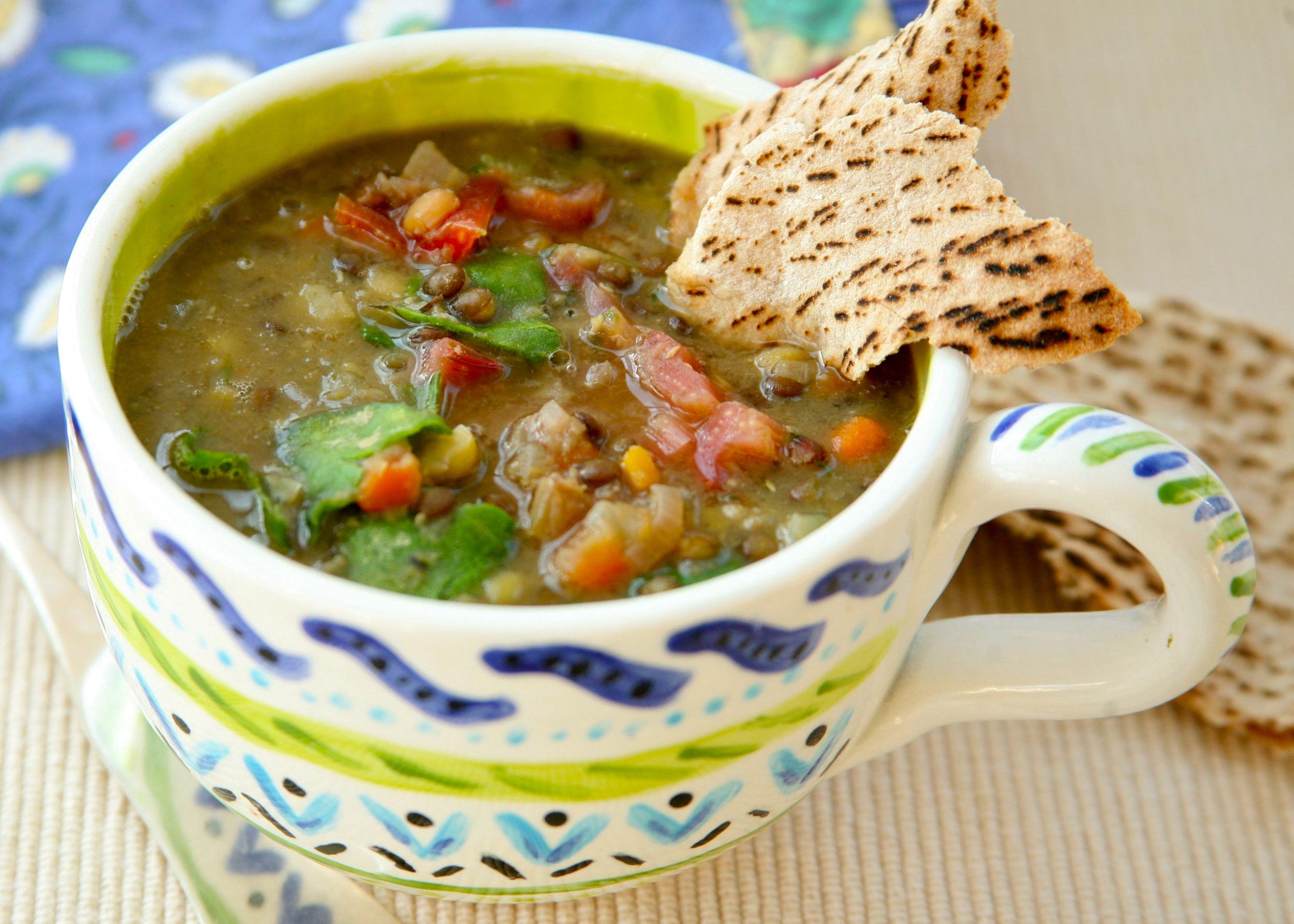Tri-colored lentil soup