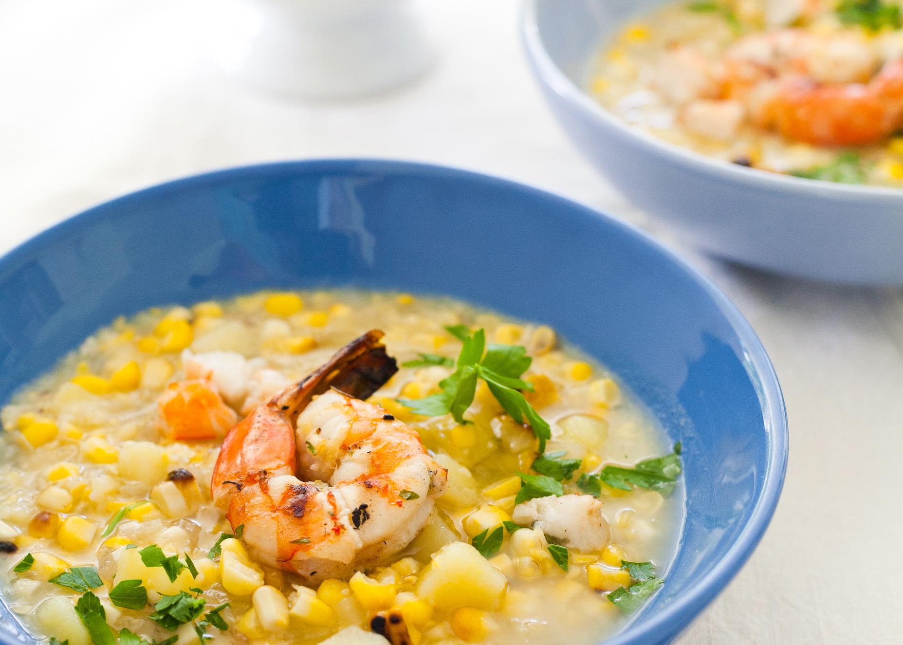 Smoky shrimp and corn chowder