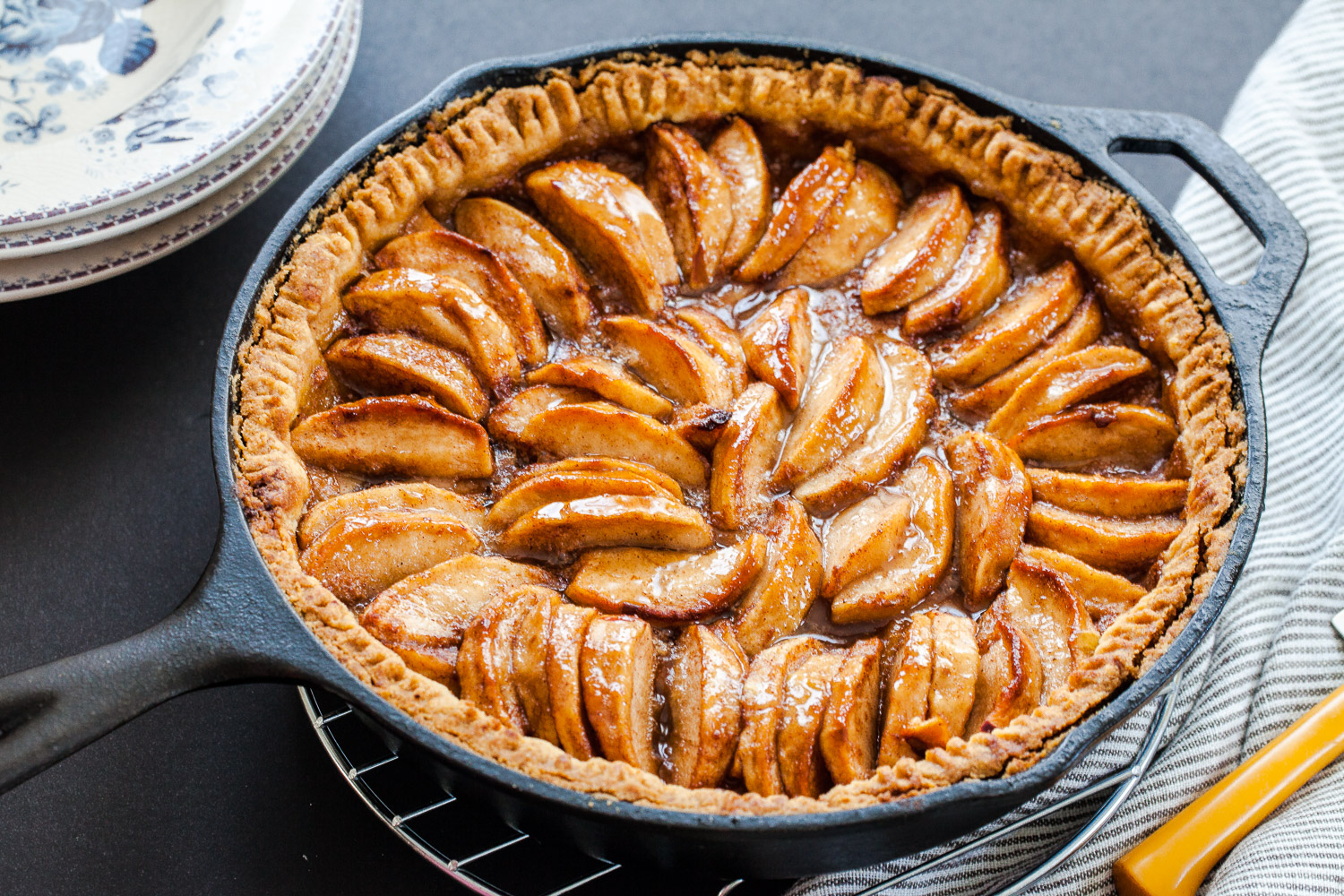 Skillet apple pie with press in crust. Easiest ever apple pie for sure.