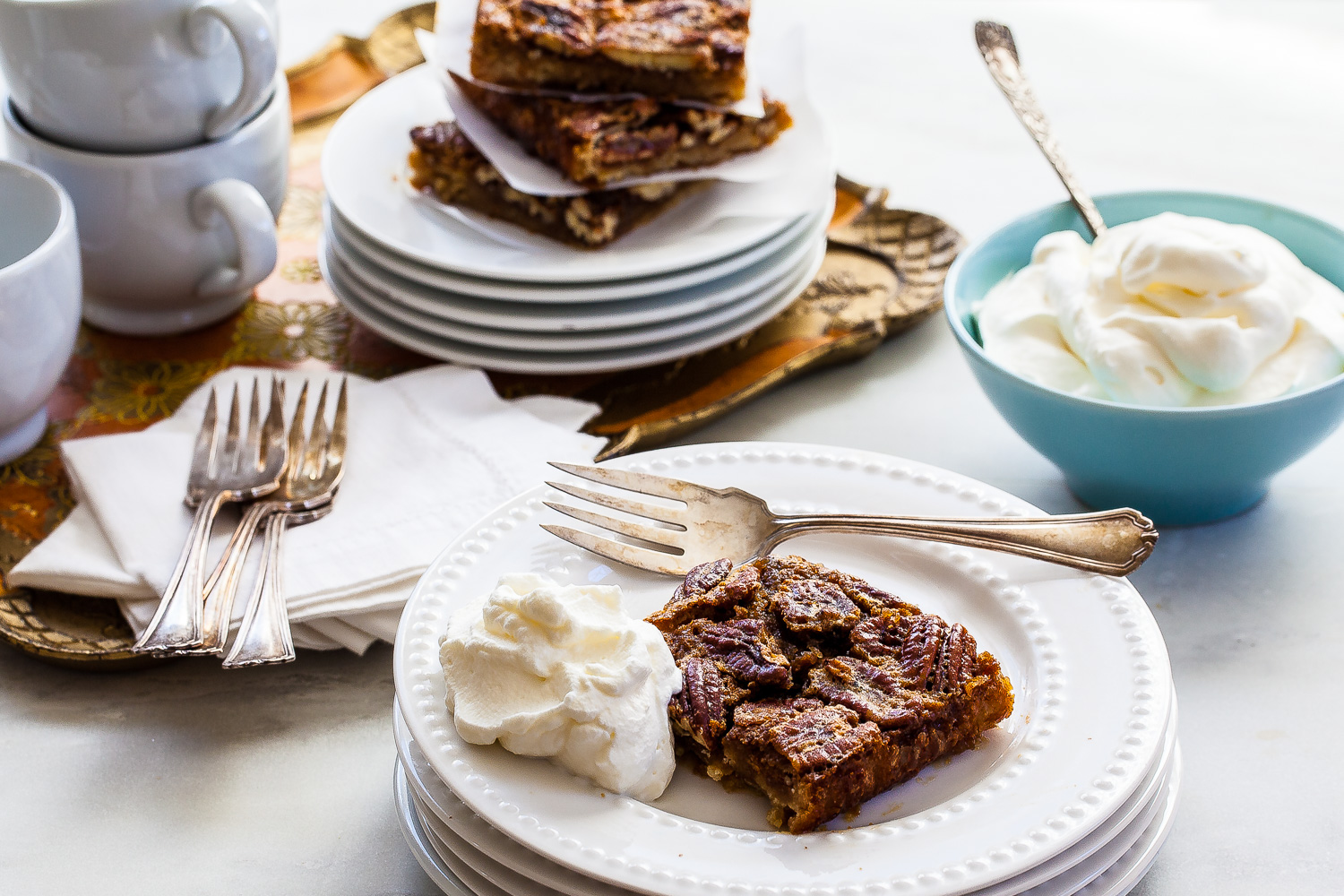 Pecan pie bars! Just like the pie, but make 12 in a baking dish, press-in dough.