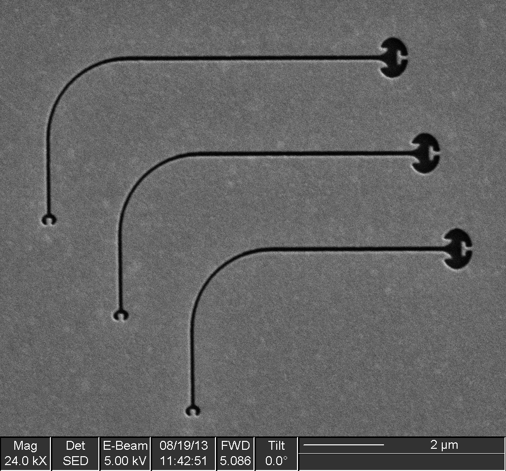 SEM of a typical sample wherein each waveguide is identical with the exception of its length.