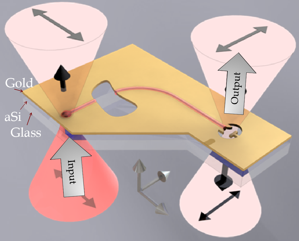 Schematic of the experimental setup consisting of two antennas connected using a suspended MIM plasmonic waveguide.  Input antenna is illuminated from below and the light travels to the output antenna where it is radiated with an orthoganal polarization.