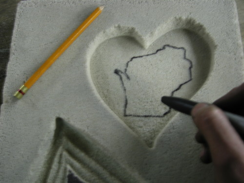 """Wisconsin.....Drawn Backwards of course !! Remember to do your design in reverse if you want to see your final iron casting to read """"correctly"""". (*this is subjective of course!*)"""