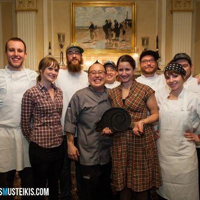 2013 winners of the Slo Pig skillet, Tory Miller of  L'Etoile Restaurant .