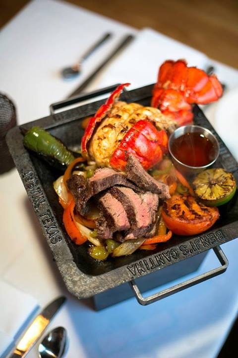 """Detail of the text on the rim of the custom fajita pans. """"Benji's Cantia"""" & """"Austin, Texas"""", are raised up for easier cleaning & textured compliment to their bold fajita mix."""