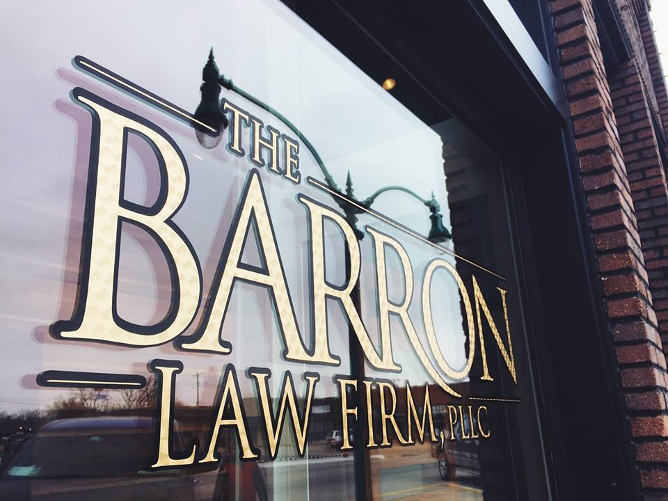 THE BARRON LAW FIRM // WINDOW GRAPHICS   GOLD LEAF DUAL-LAYERED IDENTITY SIGNAGE