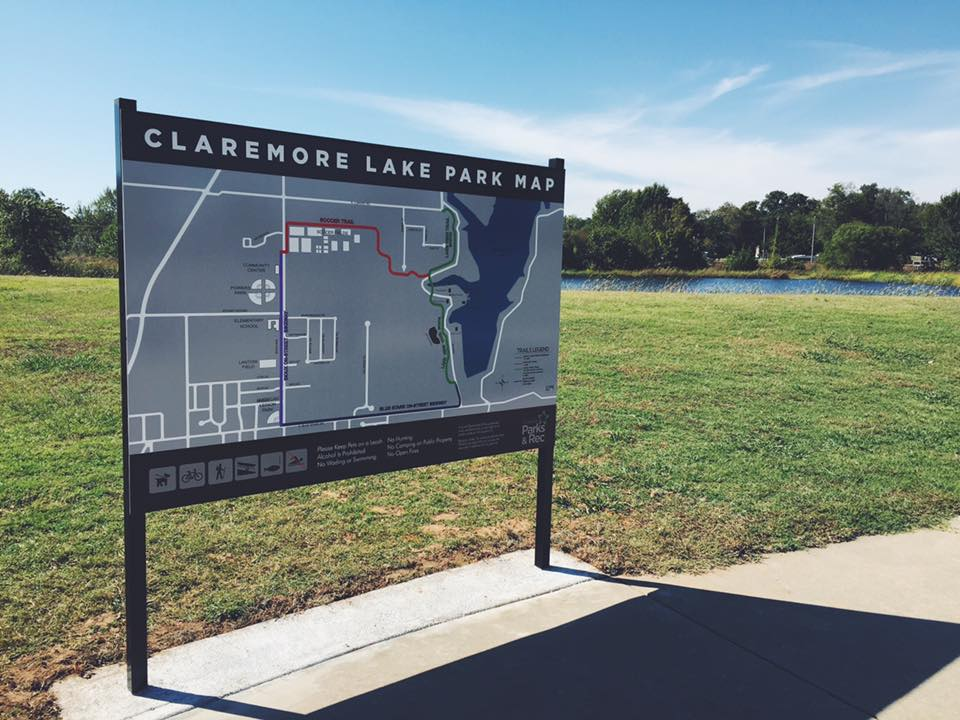 CLAREMORE LAKE PARK MAP // WAYFINDING SIGNAGE   DIRECTIONAL SIGNAGE COMMERCIAL SIGNAGE EAGLE SCOUT PROJECT RAILS INITIATIVE