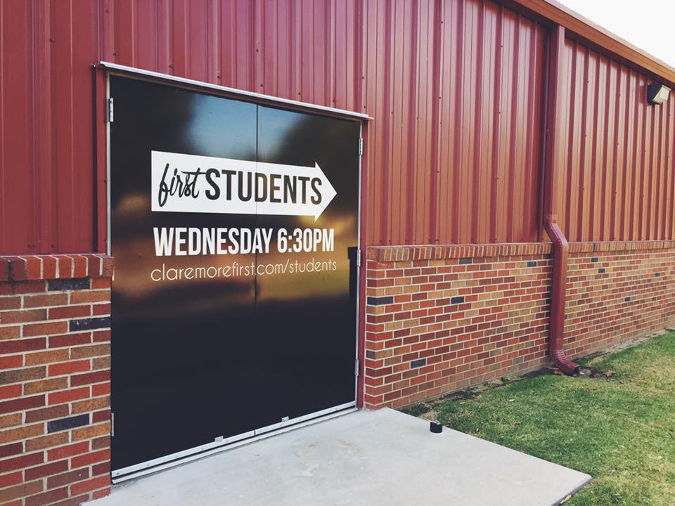 CLAREMORE FIRST BAPTIST // ENVIRONMENTAL GRAPHICS   Outdoor graphics DOOR GRAPHICS PROMOTIONAL GRAPHICS