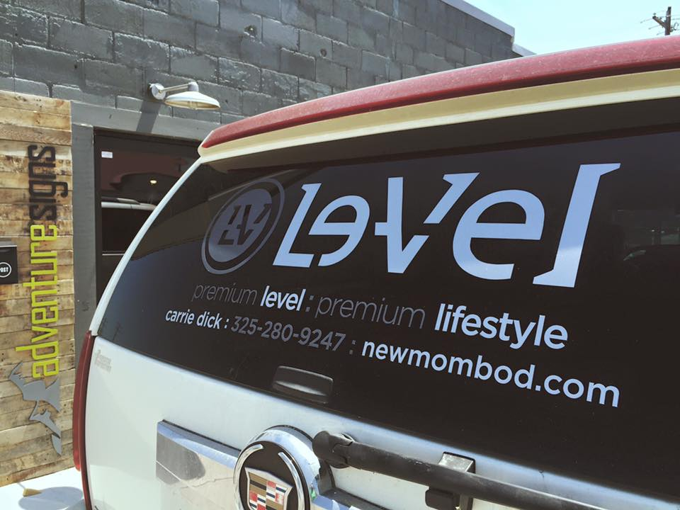 LEVEL THRIVE // VEHICLE GRAPHICS   Etched vinyl PROMOTIONAL GRAPHICS