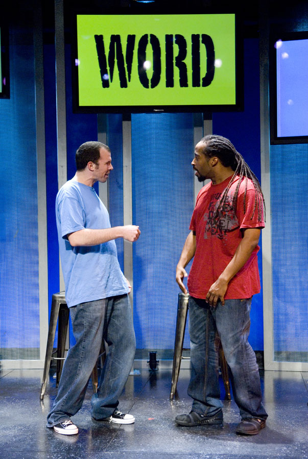 Nominated for three Helen Hayes Awards,  The Word Begins  is an exciting journey with two young men as they struggle to come to terms with belief and morality in America today. Taking on race relations, religion, sexuality, and the power of mass communication — among other great American issues,they travel from the inner city to the malls to the heartland of our country. Blending spoken word, comedy and hip hop, Steve Connell and Sekou (tha misfit) travel rapidly through the chaotic and confusing world of what the national landscape of politics looks like to a young white man and a young black man.   Photo Credit: Signature Theatre