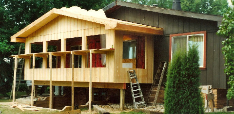 During construction. We matched the exterior and interior to the materials used in the original construction, and included vaulted ceilings and plenty of windows.