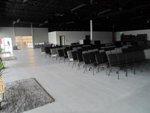 The worship hall is versatile in its uses because of its open design.