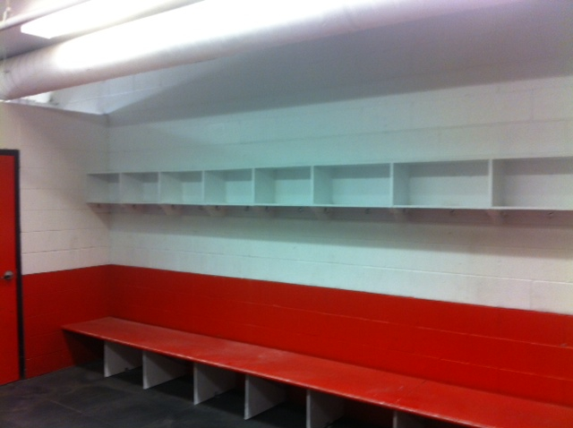 A shot of one of the finished locker rooms, remodeled and repainted!