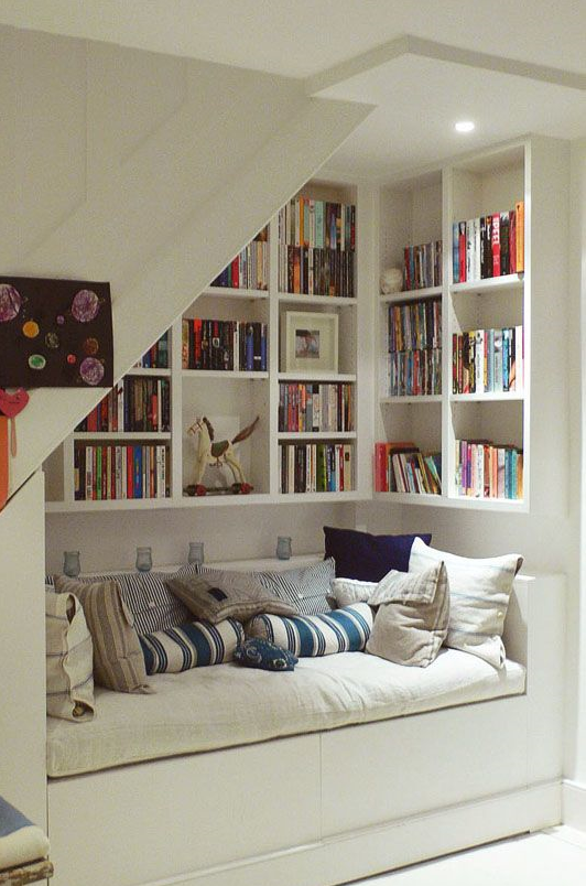 Bookshelf with reading bench