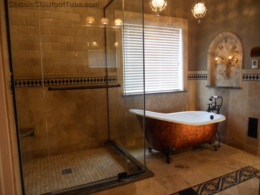 Free standing clawfoot tub with walk-in shower
