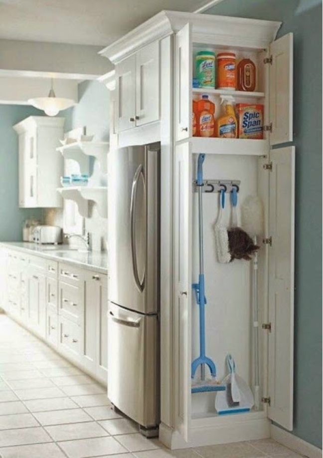 These cupboards are installed on the side of your fridge, adding character to your kitchen and a simple solution for your cleaning items. Bonus: you can stick all those deadly cleaners up high, out of reach of kids and pets.