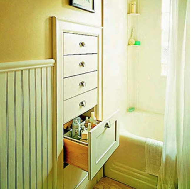 This is another awesome example of using otherwise wasted space! Have recessed drawers installed in-between studs in your walls. It's a great solution for rooms like the one pictured, a bathroom with not as much  room for storage. These can also be built under stairs (using up that weirdly shaped, awkward space), and in pretty much any room you can think of that you might want or need it!