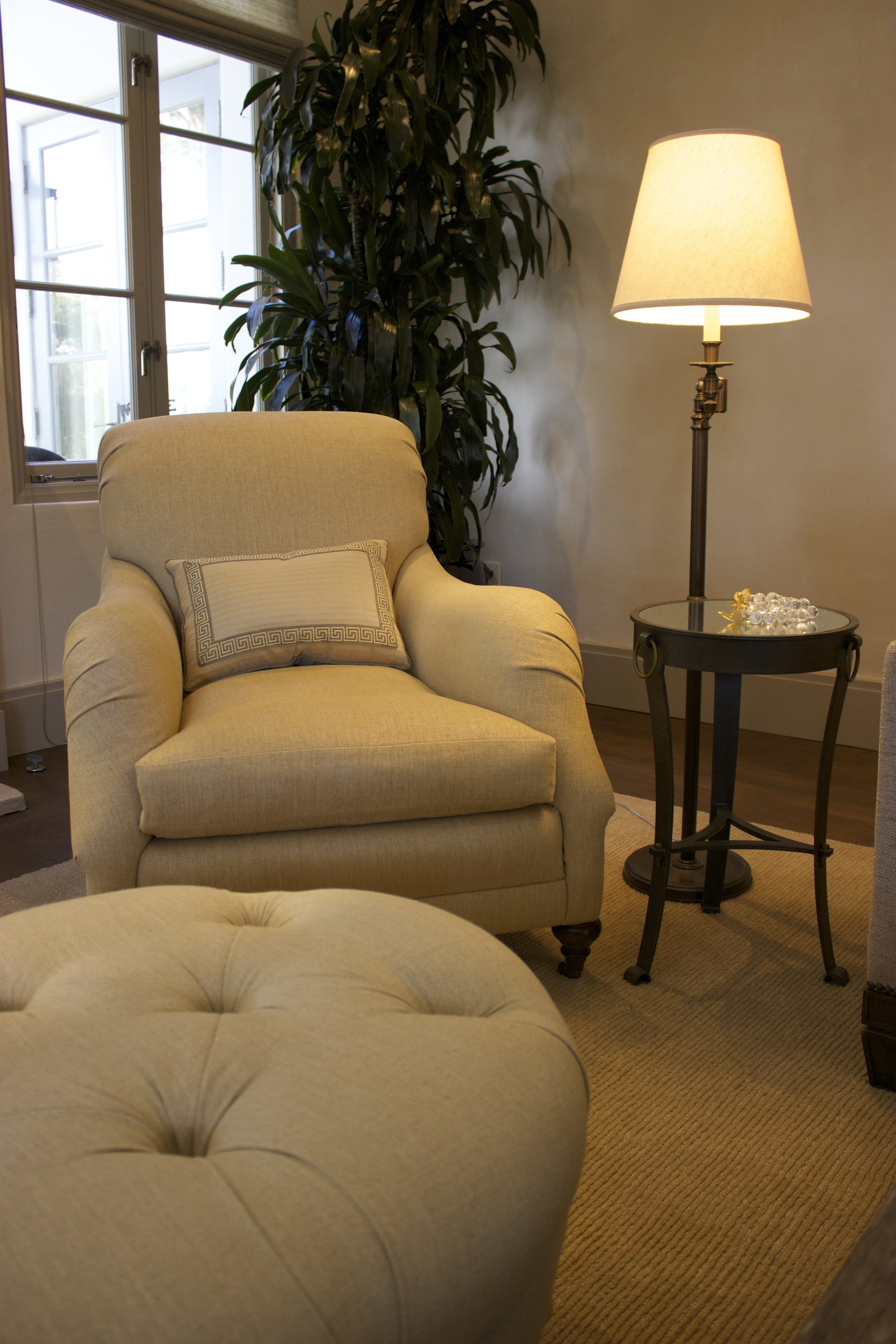 Pebble Great Room accent chair and ottoman