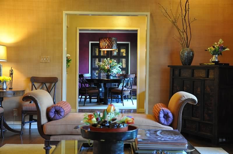 orange chair living space
