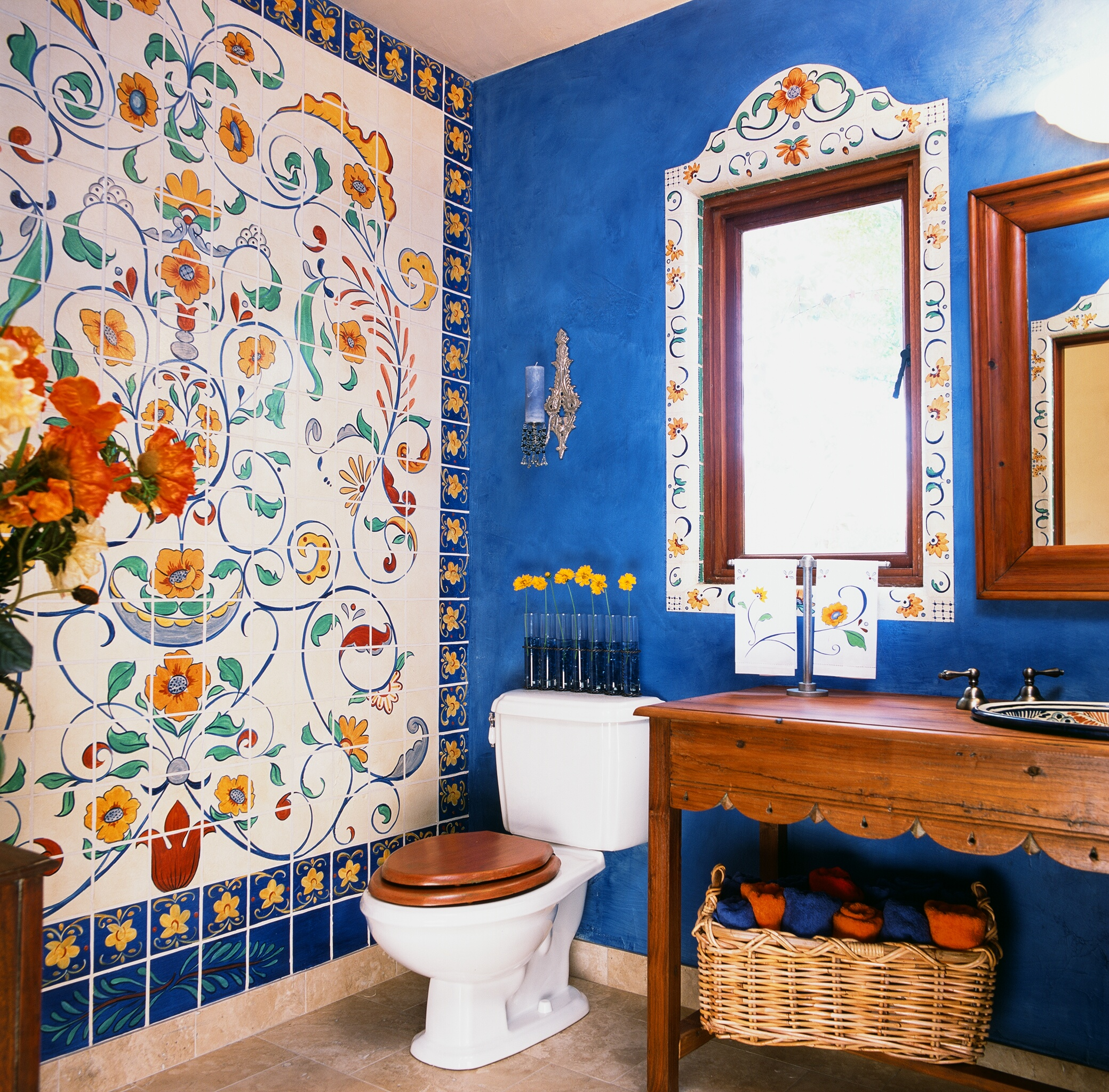 spanish style powder room