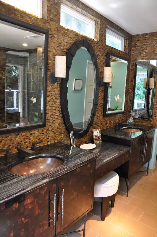 bathroom mirror wall and cabinets