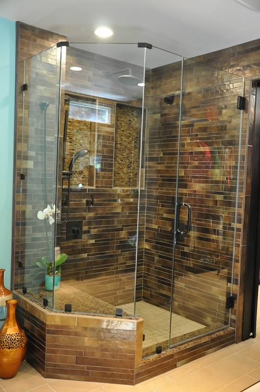 Master bathroom stand up shower with glass